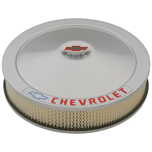 Air Cleaner Assembly, Metallic Gray, Round, 14 in. Diameter, 3 in. Height, 5 1/8 in. Flange, Chevrolet Logo, Kit