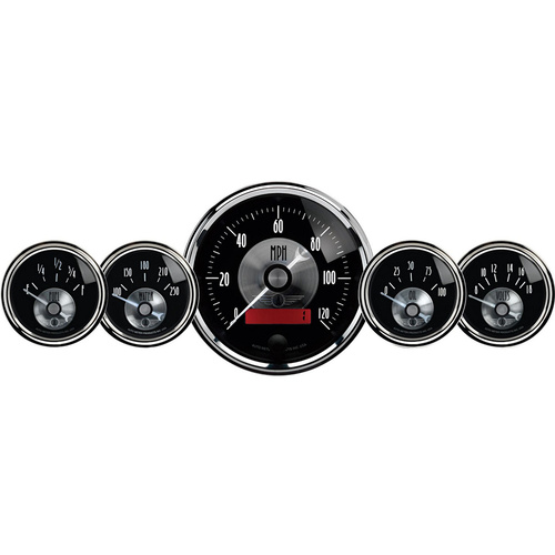 Gauge Kit, Prestige, Speedometer, 3 3/8 in. & 2 1/16 in., Electrical W/LCD Odometer, Black Diamond, Analog, Set of 5