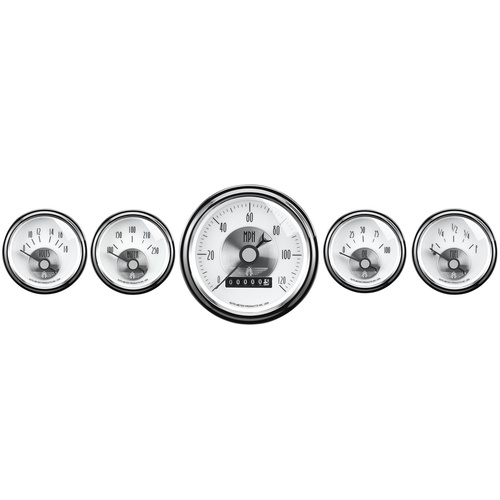 Gauge Kit, Prestige, Speedometer, 3 3/8 in. & 2 1/16 in., Electrical, w/ Wheel Odometer, Pearl, Set of 5