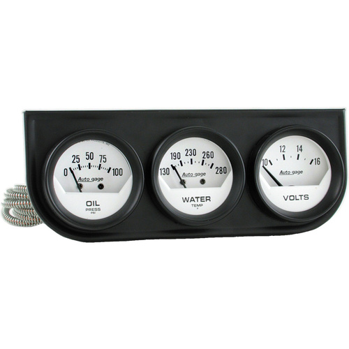 Gauge Console, Autogage, Oil Pressure/Water Temp./Volt, 2 in., 100psi/280 Degrees F/16V, White Dial, Black Bezel, Kit