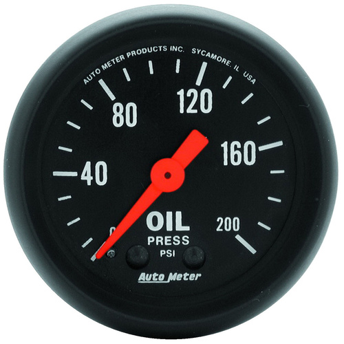 Gauge, Z-Series, Oil Pressure, 2 1/16 in., 200psi, Mechanical, Analog, Each