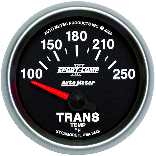 Gauge, Sport-Comp II, Transmission Temperature, 2 1/16 in., 100-250 Degrees F, Electrical, Analog, Each