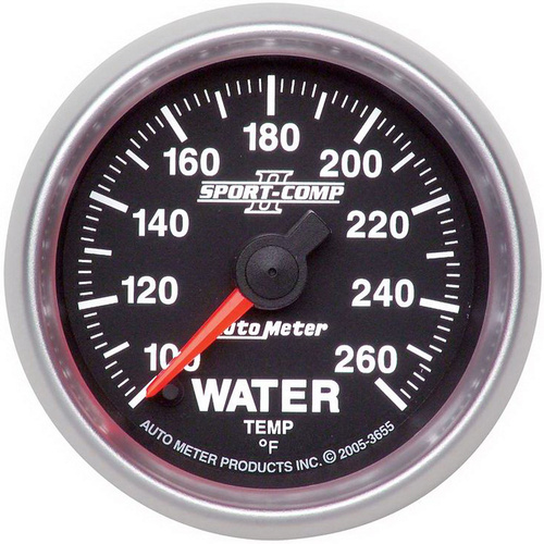 Gauge, Sport-Comp II, Water Temperature 100-260 Degrees F 2 1/16  in. Analog Electrical Each, Each