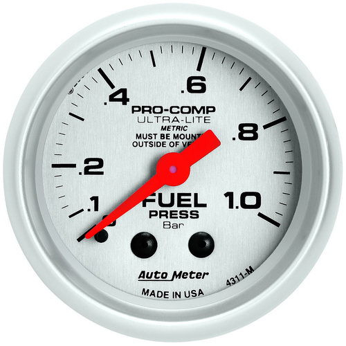 Gauge, Ultra-Lite, Fuel Pressure, 2 1/16 in., 1.0BAR, Mechanical, Each