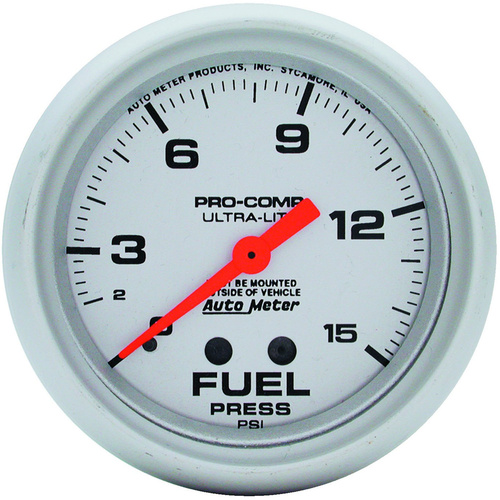 Gauge, Ultra-Lite, Fuel Pressure, 2 5/8 in., 15psi, Mechanical, Analog, Each