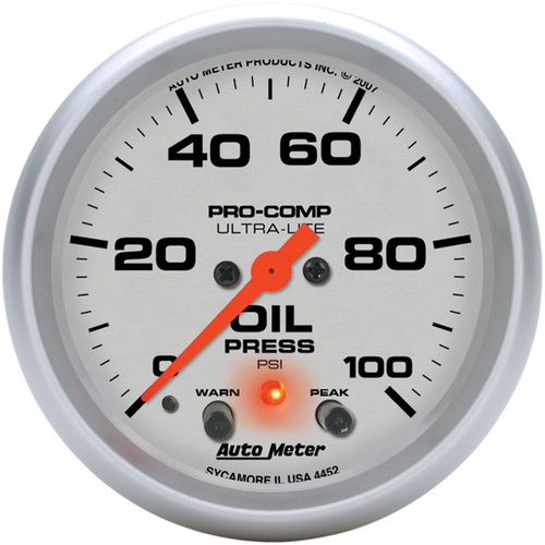 Gauge, Ultra-Lite, Oil Pressure, 2 5/8 in., 100psi, Digital Stepper Motor W/Peak & Warn, Analog, Each