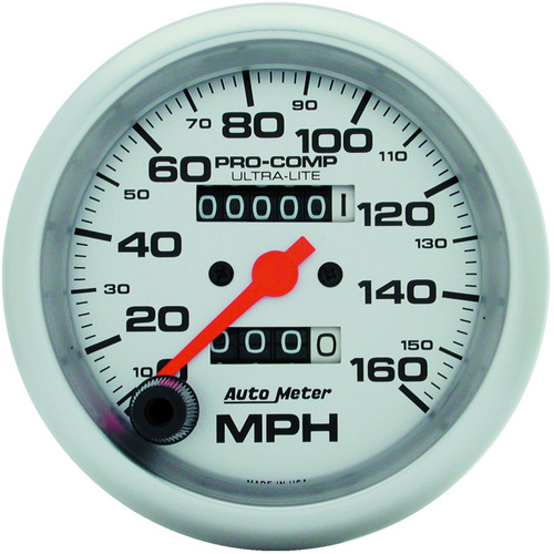 Gauge, Ultra-Lite, Speedometer, 3 3/8 in., 160mph, Mechanical, Analog, Each