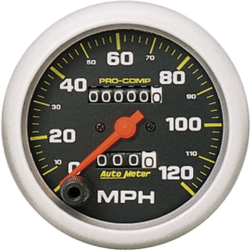 Gauge, Pro-Comp, Speedometer, 3 3/8 in., 120mph, Mechanical, Analog, Each