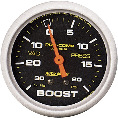 Gauge, Pro-Comp, Vacuum/Boost, 2 5/8 in., 30 in. Hg/20psi, Liquid Filled Mechanical, Analog, Each