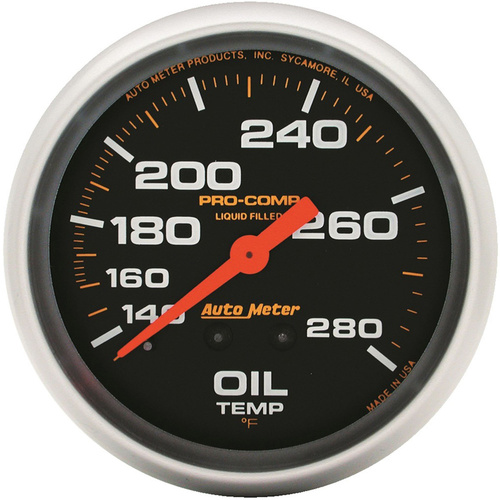 Gauge, Pro-Comp, Oil Temperature, 2 5/8 in., 140-280 Degrees F, Liquid Filled Mechanical, 12ft., Analog, Each