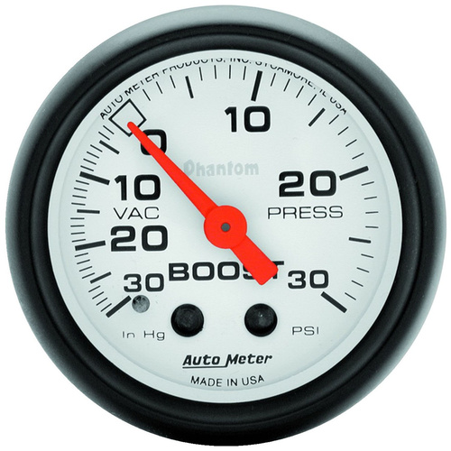 Gauge, Phantom, Vacuum/Boost, 2 1/16 in., 30 in. Hg/30psi, Mechanical, Analog, Each