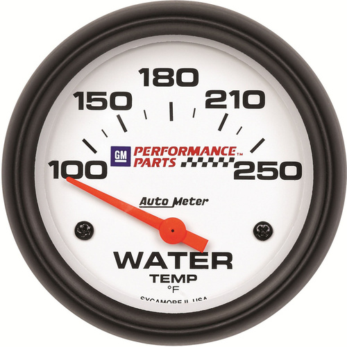Gauge, Water Temperature, 2 5/8 in., 100-250 Degrees F, Electrical, GM Performance White, Each