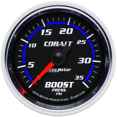 Gauge, Cobalt, Boost, 2 1/16 in., 35psi, Mechanical, Analog, Each