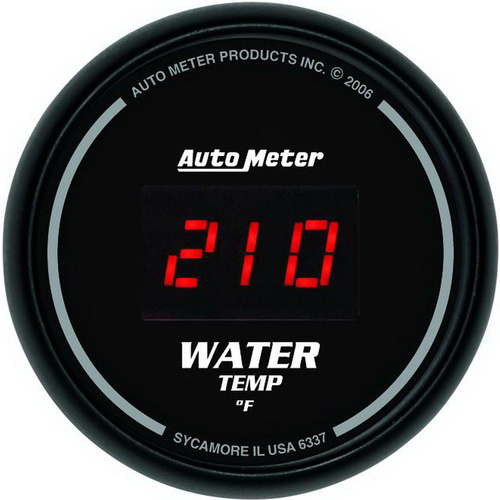 Gauge, Sport-Comp, Water Temperature, 2 1/16 in., 340 Degrees F, Digital, Black Dial w/ Red LED, Digital, Each