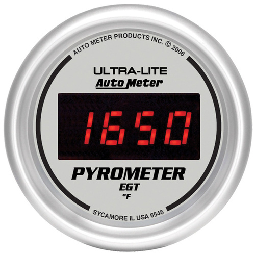 Gauge, Ultra-Lite, Ultra-Lite Pyrometer (EGT), 2 1/16 in., 1600 Degrees F, Digital, Silver Dial w/ Red LED, Analog, Each