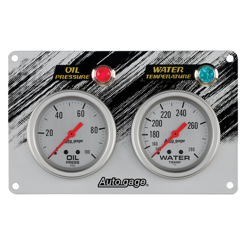 Gauge PANEL, RACE, Oil Pressure/Water Temp., 2 5/8 in., 100psi/280 Degrees F, Silver, AG