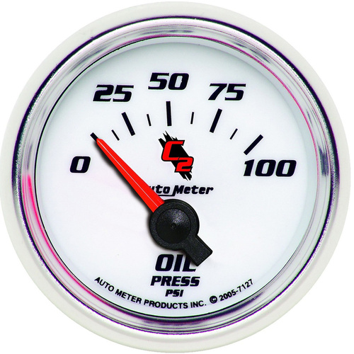 Gauge, C2, Oil Pressure, 2 1/16 in., 100psi, Electrical, Analog, Each
