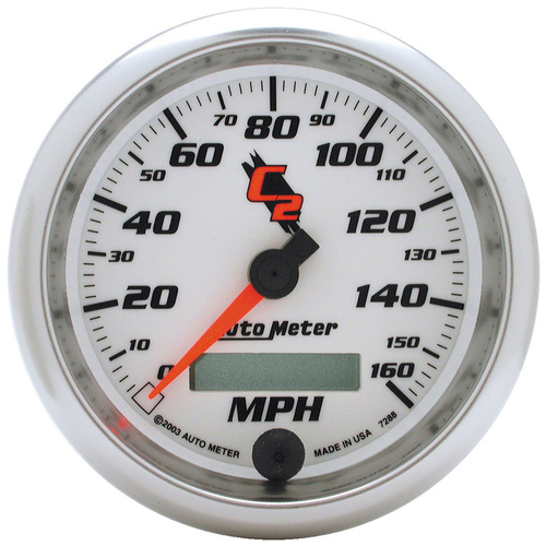 Gauge, C2, Speedometer, 3 3/8 in., 160mph, Electric Programmable, Digital, Each