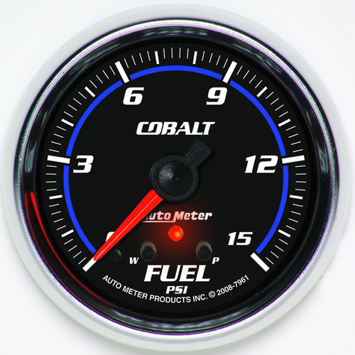 Gauge, Cobalt, Fuel Pressure, 2 5/8 in., 15psi, Stepper Motor w/ Peak & Warn, Analog, Each