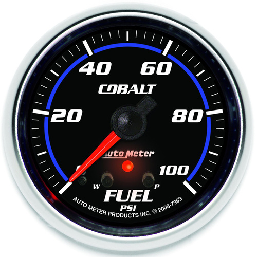 Gauge, Cobalt, Fuel Pressure, 2 5/8 in., 100psi, Stepper Motor w/ Peak & Warn, Analog, Each