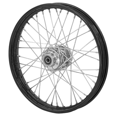 40 SPOKE 16' X 3' REAR WHEEL, BLACK RIM & HUB WITH CHROME SPOKES 3/4 BEARINGS