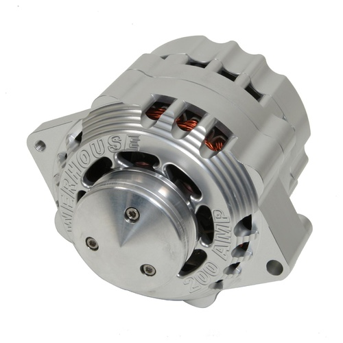 Alternator, Billet Aluminium, Clear Anodized, 200 Amps, 12 V, V-Belt, Chevrolet, Each