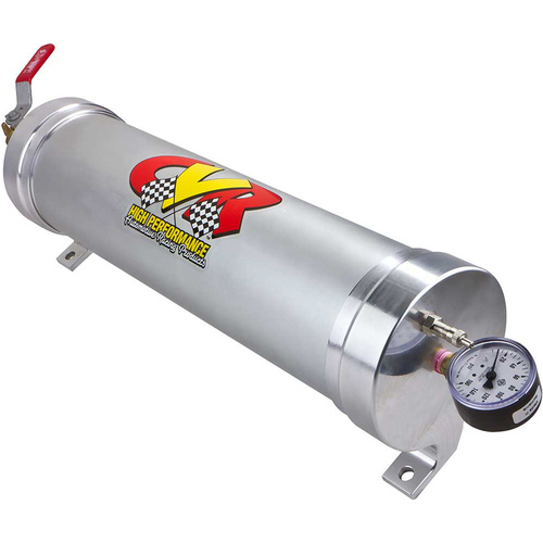 Engine Oil Accumulator, 3 Quarts, 22.5 in. Length, 4.5 in. Diameter, Clear Anodized, Gauge, Valve, Each
