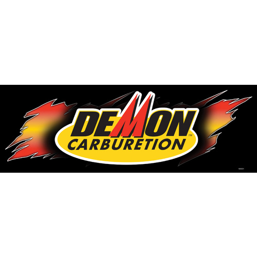 Banner, Vinyl, Black, Demon Carburetion Logo, Grommets, 24 in. x 72 in., Each