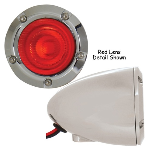 Custom Led Turn Signal, Black Universal, Dual Function Red Lens, Each