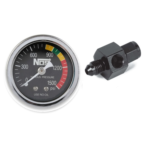 Nitrous Pressure Gauge, Black, 1-1/2in., 0-1500psi with -4AN adapter