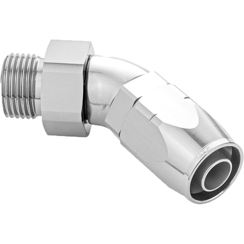 45 Degree Fitting Hose End -06AN Orb Male To -06AN, Polished