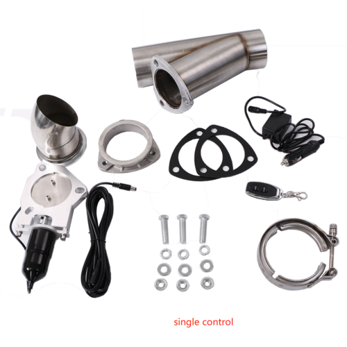 Single Exhaust Cutouts, Electric, Aluminium, Bolt On, 2,5 in. Diameter, Stainless Steel Tubing, Kit