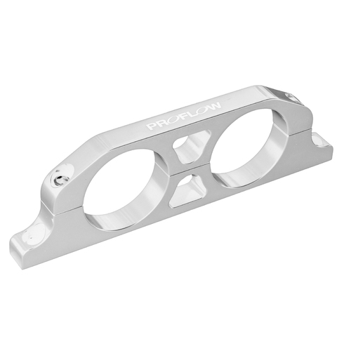 Fuel Filter Brackets Dual 76mm hole, Aluminium, Silver Anodised