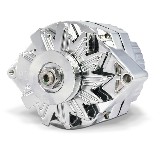 Alternator, 80 AMP, GM 1 Wire Style, Machined Pulley, Chrome Finish, 100% New