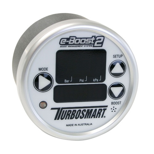 Boost Controller, e-Boost 2, Electronic, Six Stage, 0-60 psi., 60mm, White/Silver, Each